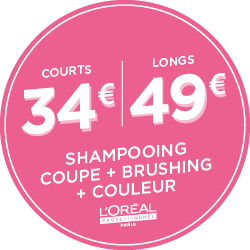 Couleur + L'Oréal + Shampoing, coupe, brushing : 34€ Courts | 49€ Longs
