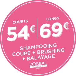 Shampoing, coupe, brushing, balayage : 54€ Courts | 69€ Longs